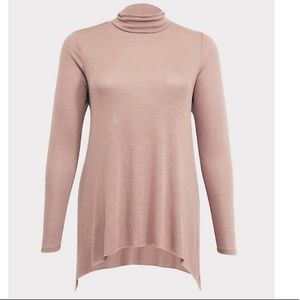 Torrid Taupe Hacci Tunic Turtleneck Bounce Top Lrg